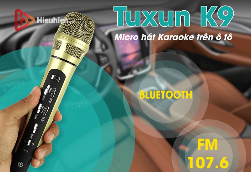 tuxun k9 - bản thiếng trung - micro karaoke trên xe hơi, ô tô kết nối tần số fm - hình 08