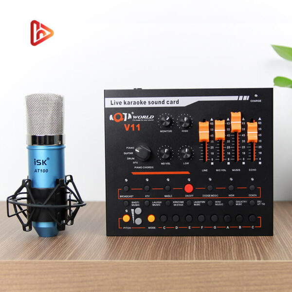 combo micro isk at100 + sound card v11 - mic thu âm, hát livestream hình 01