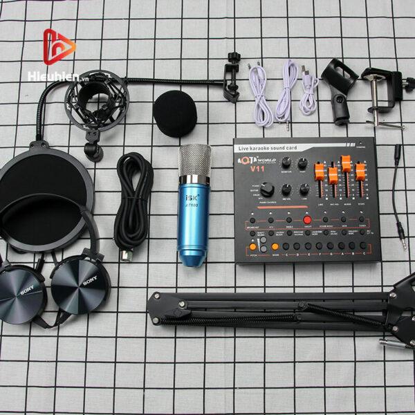 combo micro isk at100 + sound card v11 - mic thu âm, hát livestream hình 02