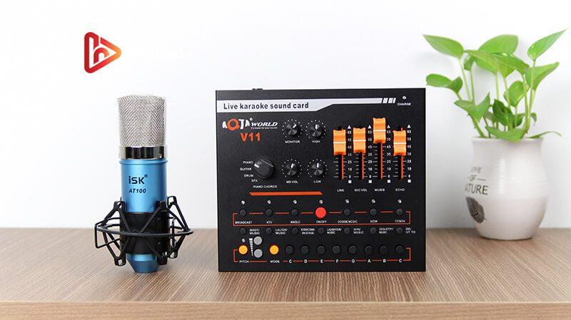 combo micro isk at100 + sound card v11 - mic thu âm, hát livestream hình 03