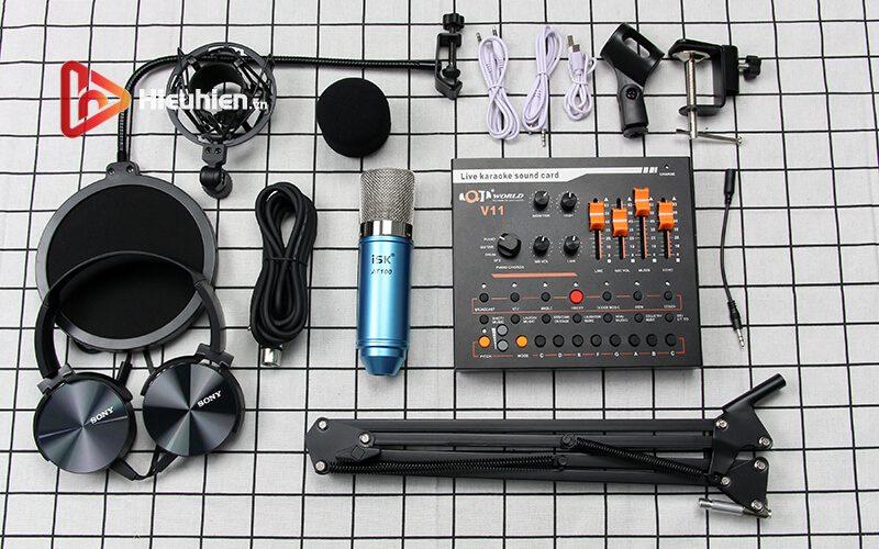 combo micro isk at100 + sound card v11 - mic thu âm, hát livestream hình 04