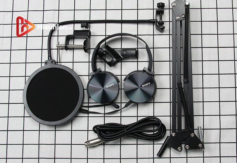 combo micro isk at100 + sound card v11 - mic thu âm, hát livestream hình 05
