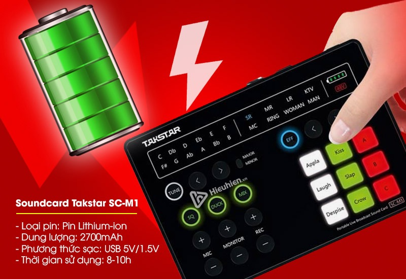 Soundcard Takstar SC-M1 tích hợp pin lithium-ion với dung lượng 2700mah