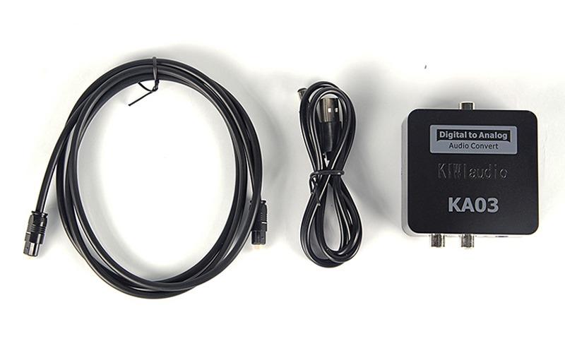 Trọn bộ sản phẩm và phụ kiện bộ chuyển đổi âm thanh quang Kiwi KA03