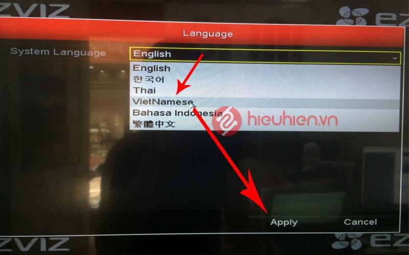 nhập mật khẩu mặc định của đầu thu Ezviz