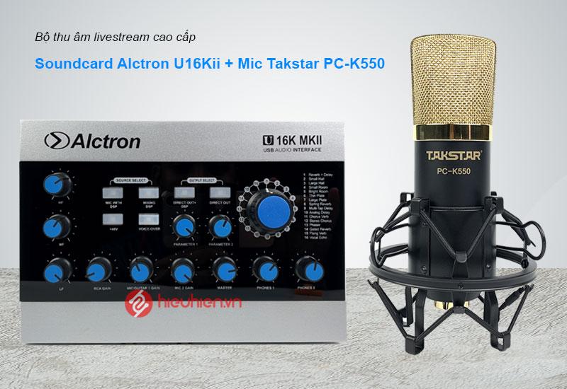 Combo SoundCard Alctron U16K MK2 Kèm Mic Takstar K550 chính hãng