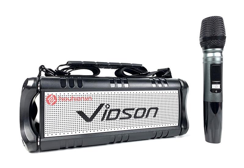 loa bluetooth nghe nhạc Vidson D8M còn được tặng kèm thêm 1 chiếc micro không dây hát karaoke