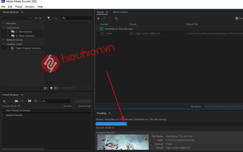 adobe media encoder render video