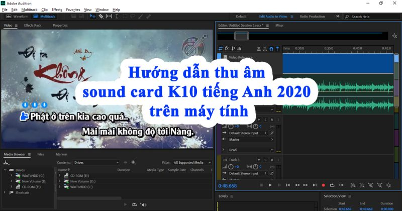 huong dan thu am bang sound card k10 tren may tinh