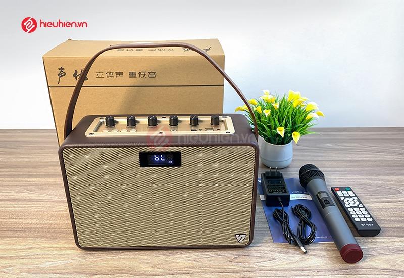 trọn bộ loa karaoke di động ShengYou A5 đầy đủ phụ kiện, tặng kèm micro không dây cao cấp