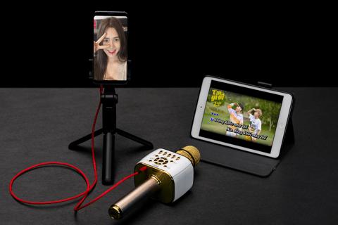 micro karaoke kèm loa bluetooth iCore IC - M99 hỗ trợ livestream