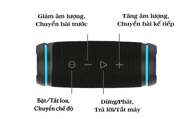 vidsion d3 mini - loa bluetooth nghe nhạc công suất 20w - phím chức năng