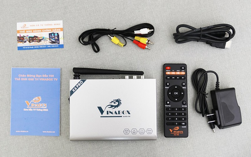 vinabox x6 pro ram 2gb android tv box giá rẻ - trọn bộ sản phẩm