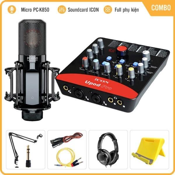 Combo Micro Takstar PC-K850 + Sound Card Icon Upod Pro – Thu âm, hát live stream, karaoke cao cấp