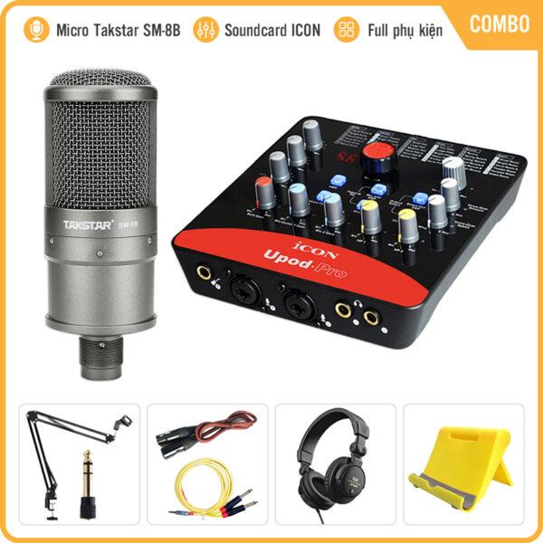 Combo Micro Takstar SM-8B + ICON Upod Pro Sound Card – Thu âm hát live stream, karaoke chuyên nghiệp