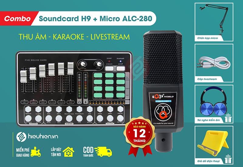 combo soundcard mkai h9 và micro aqta alc-280 thu âm, hát live tại nhà