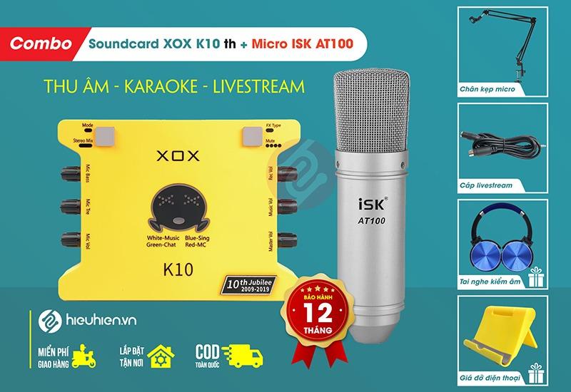 Combo Sound Card XOX K10 Phiên Bản Mới 2020 + Kèm Mic ISK AT100 chính hãng ✅ Trọn bộ FULL phụ kiện ✅ Tặng kèm tai nghe kiểm âm cao cấp ✅ Bảo hành 1 đổi 1