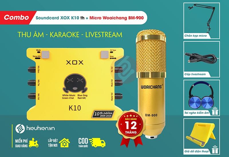 SoundCard XOX K10 2020 và mic Woaichang BM-900 Combo hát Livestream