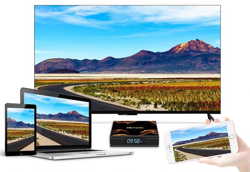 android tv box hk1 lite giá rẻ ram 2gb, rom 16gb, chạy android 9.0 - chia sẻ màn hình