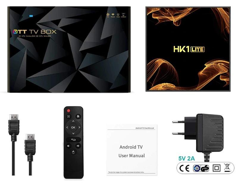 android tv box hk1 lite giá rẻ ram 2gb, rom 16gb, chạy android 9.0 - hộp sản phẩm