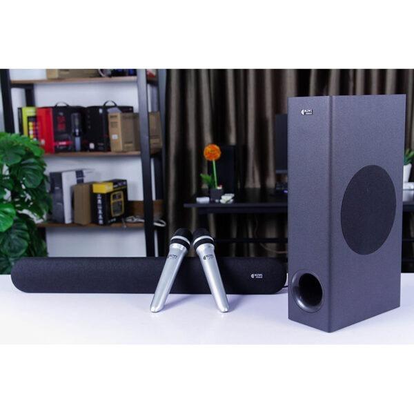 loa soundbar karaoke kiwi hk01 kèm 2 micro, hát karaoke cực hay