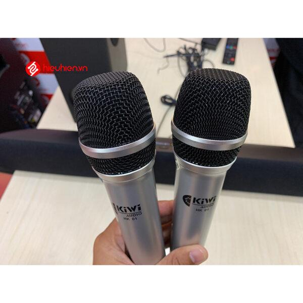 kiwi hk01 loa soundbar kèm 2 micro, hát karaoke cực hay, không hú