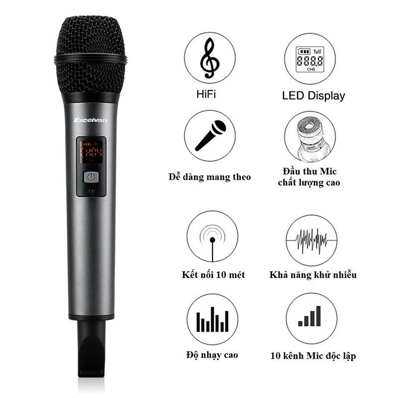 Micro Karaoke không dây Excelvan K18V chính hãng - hình 02