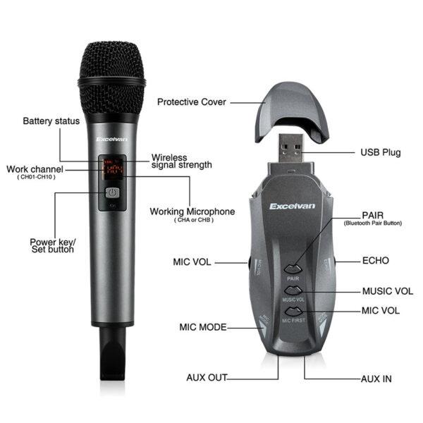 Micro Karaoke không dây Excelvan K18V chính hãng - hình 05