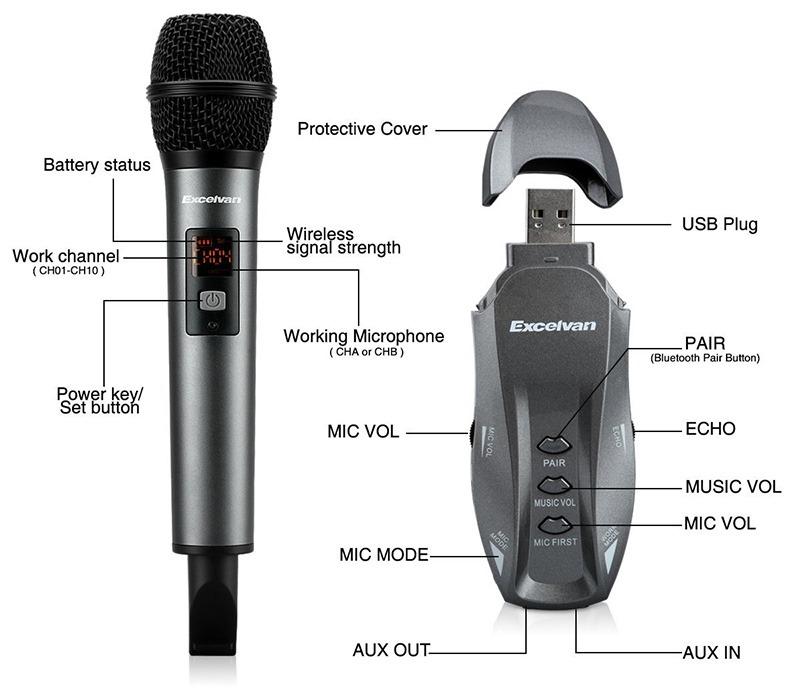 Micro Karaoke không dây Excelvan K18V chính hãng - hình 06