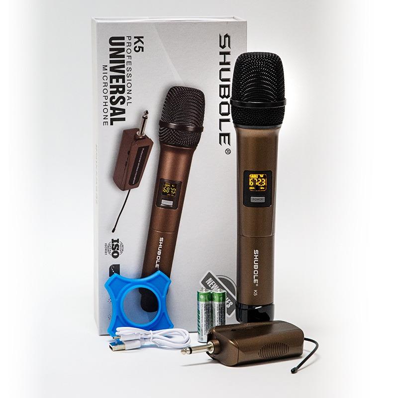 micro karaoke không dây shubole k5 dành cho loa kéo, loa bluetooth, amply hát karaoke - trọn bộ sản phẩm