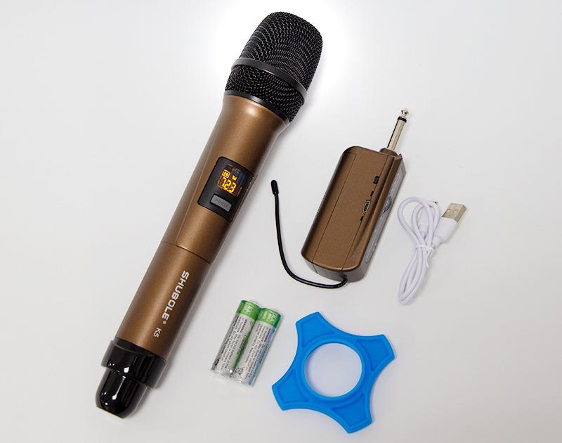 mic karaoke shubole k5 dành cho loa kẹo kéo, loa bluetooth, amply karaoke - trọn bộ sản phẩm