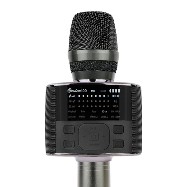 micro karaoke bluetooth hàn quốc miracle m100 - màn hình led hiển thị các chế độ kết nối, điều khiển, mức pin