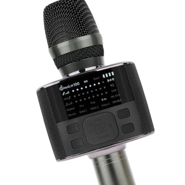 micro karaoke bluetooth hàn quốc miracle m100 - tùy chỉnh âm lượng mic, nhạc, độ vang mic