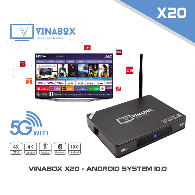 vinabox x20 android tv box giá rẻ ram 2gb, rom 16gb, chạy android 10, tìm kiếm bằng giọng nói