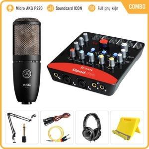 Combo Micro Cao Cấp AKG P220 + Sound Card Icon Upod Pro – Chuyên Thu âm, Hát Livestream, Karaoke Online