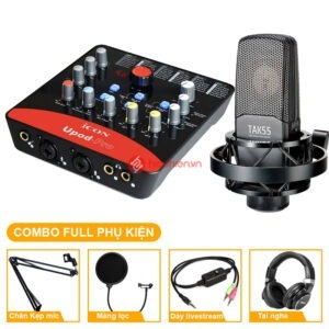 combo micro cao cấp takstar tak55 + Sound card icon upod pro - chuyên thu âm, hát Livestream, karaoke online