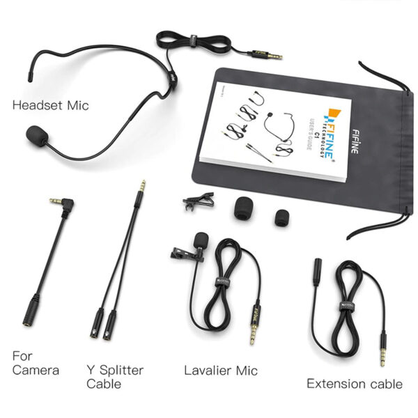 fifine c1 - micro cài áo + mic cài đầu thu âm cho điện thoại và máy ảnh dslr, máy tính pc