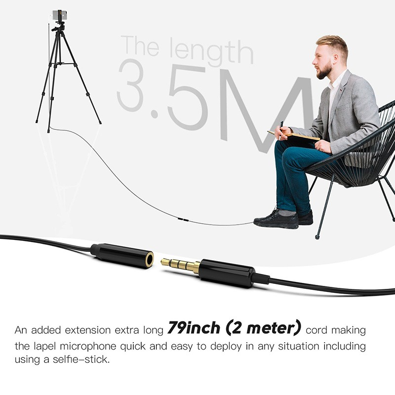 mic cài đầu cài ve áo fifine c1 - micro thu âm cho điện thoại và máy ảnh dslr, máy tính - dây dài 3.5m