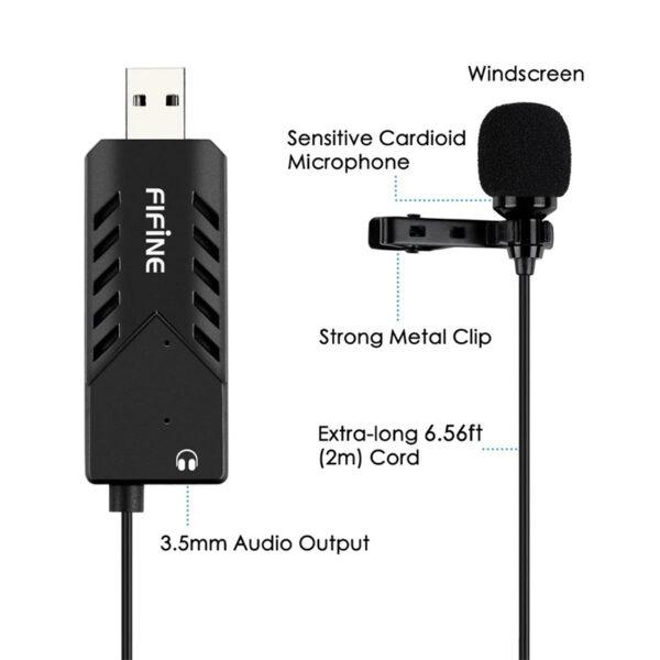 micro thu âm cài áo cho máy tính fifine k053 - thiết kế