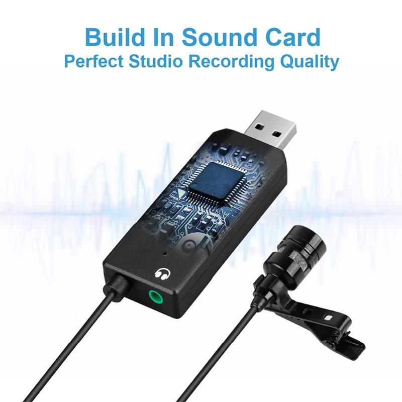 micro thu âm cài áo cho máy tính fifine k053 - tích hợp sound card