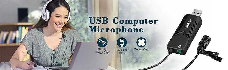 micro thu âm cài áo cho máy tính fifine k053 - kết nối qua cổng usb