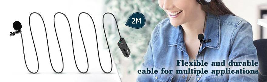 micro thu âm cài áo cho máy tính fifine k053 - dây dài 2M