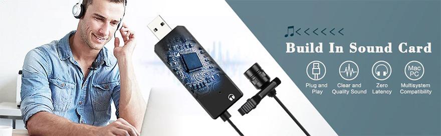 micro cài áo fifine k053 thu âm cho máy tính - tích hợp sound card