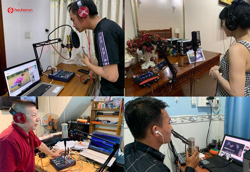 hiehien.vn lắp đặt combo micro thu âm tại nhà và hướng dẫn khách hàng sử dụng - hình 02