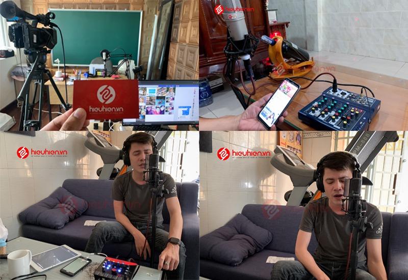 hiehien.vn lắp đặt combo micro thu âm tại nhà và hướng dẫn khách hàng sử dụng - hình 03