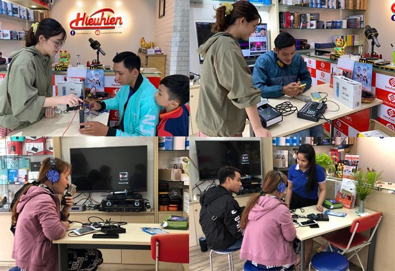 khách hàng trải nghiệm và mua combo micro thu âm tại hieuhien.vn