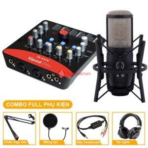 trọn bộ combo micro thu âm akg p220 + sound card icon upod pro bao gồm đầy đủ phụ kiện