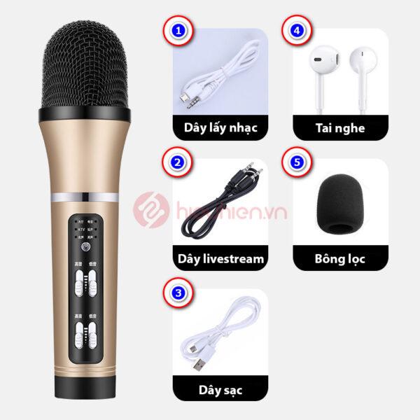 micro thu âm livestream c25 giá rẻ - trọn bộ sản phẩm - màu vàng