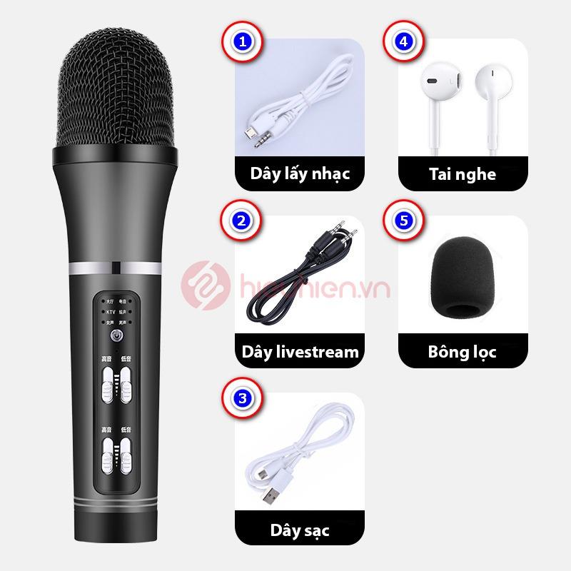 micro thu âm livestream c25 giá rẻ - trọn bộ sản phẩm - màu đen