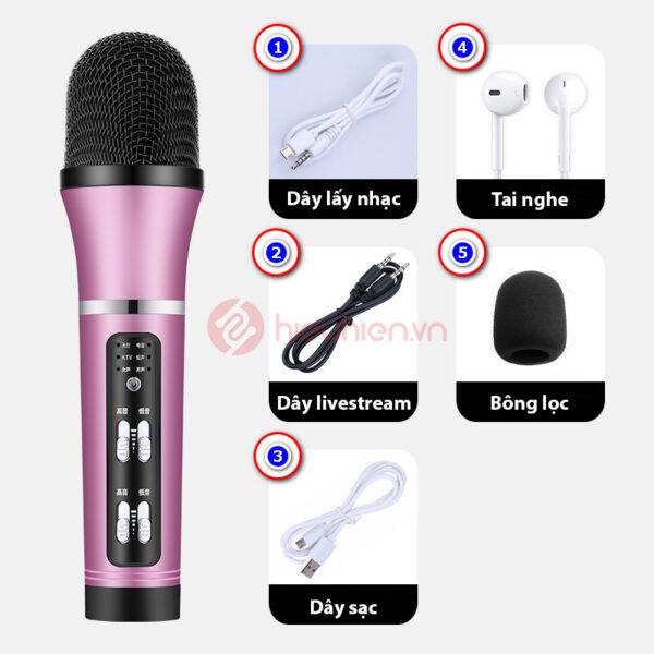 micro thu âm livestream c25 giá rẻ - trọn bộ sản phẩm - màu hồng